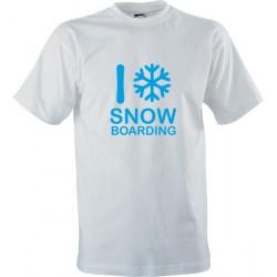 Sportovní tričko s potiskem I love snowboarding