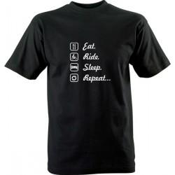 Motorkářské tričko s potiskem Eat Ride Sleep Repeat