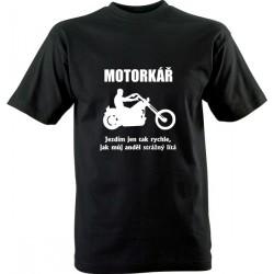 Motorkářské tričko s potiskem Motorkář a anděl strážný